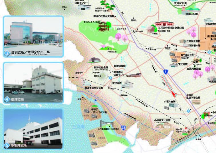 イラストマップ豊川市南西部の拡大マップ